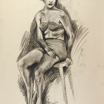 1950's Drawing Seated Female Figure