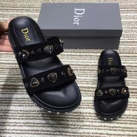 Dior Women Fashion Leather Rhinestone Slipper Sandals Shoes