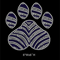 Paw with Zebra - Blue zebra paw - Rhinestone hot fix iron on Transfers - DIY shirts t-shirts - Mascot team logos