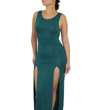 long maxi two high slits dress