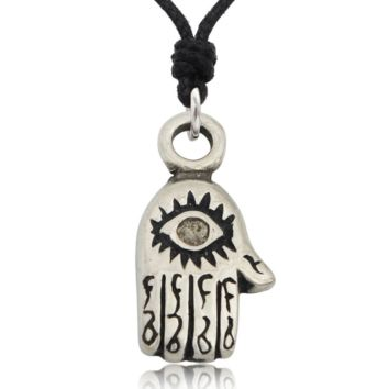 Hamsa Hand of God Silver Pewter Charm Necklace Pendant Jewelry