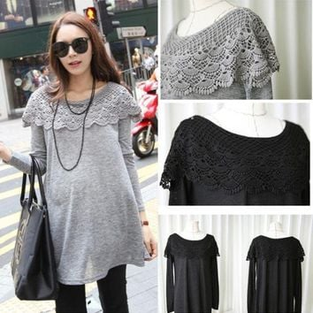 PEAPUG3 Black Grey Plus Size Lace O-neck Long-Sleeve Maternity Shirts Tops Clothes for Pregnant Women Loose Clothing for Pregnancy 3007 = 1946981636