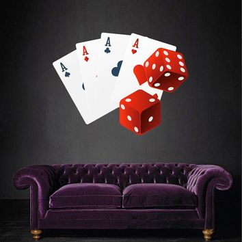 cik1368 Full Color Wall decal dice playing cards four aces House Living