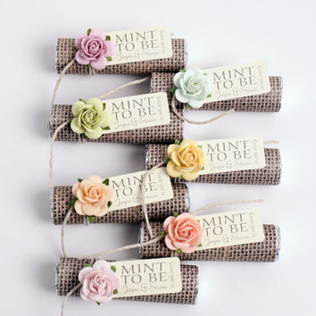 "Mint wedding Favors - Set of 180 mint rolls - ""Mint to be"" favors with personalized tag - burlap wrapped, rose mix, colorful party favors"