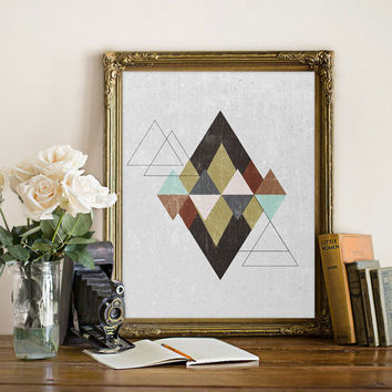 Abstract print Abstract poster Wall art Geometric print Triangles print Abstract art Geometric art Geometric poster Triangles abstract