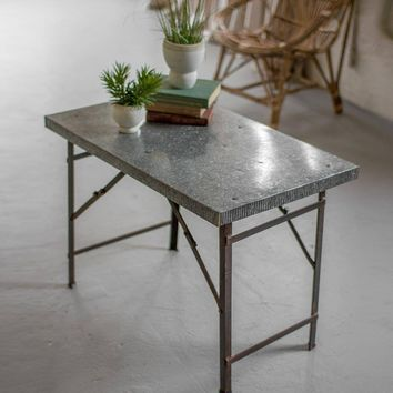 Folding Display Accent Table with Galvanized Top ~ Small