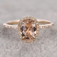 7x9mm Morganite Engagement ring Yellow gold,Diamond wedding band,14k,Oval Cut,Gemstone Promise Bridal Ring,Claw Prongs,Halo Half Eternity