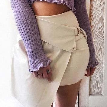 White High Waist Buckle Strap Chic Women PU Mini Skirt