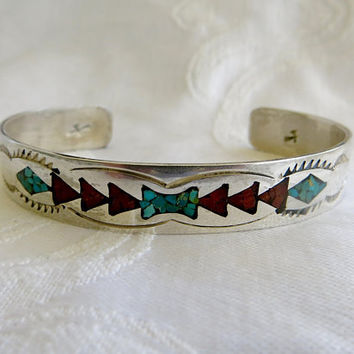 Navajo Cuff Bracelet, Native American Jewelry, Turquoise Coral Inlay, Vintage Navajo Turquoise Bracelet, Gibson Gene Turquoise Jewelry