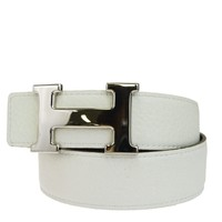 Auth HERMES Constance H Buckle Belt Leather Silver White France #65 33EK519