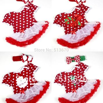 Xmas Minnie Red White Polka Dots Bodysuit Jumpsuit Red White Pettiskirt & Headband Set NB-18Month MAJS0033