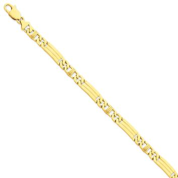 14k Yellow Gold Men Polished Fancy Link Chain Necklace - Fine Jewelry Gift