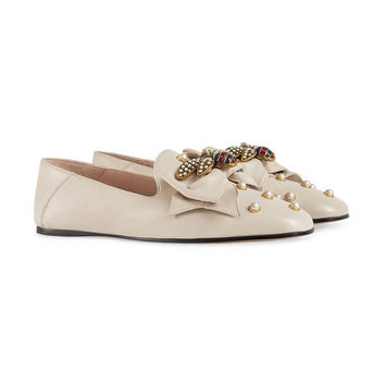 Gucci Leather Ballet Flat With Bow - Farfetch