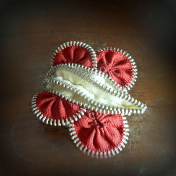 Zip butterfly brooch or for hair, about 6 cm / 2.4 inches, dark red and beige, eco friendly,,recycled jewelry