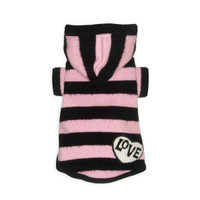 Hip Doggie Super Soft Pink Love Hooded Sweater for Dogs