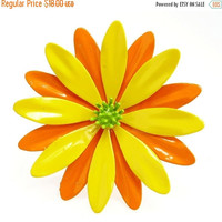 60s Mod Orange & Yellow Enamel Flower Brooch