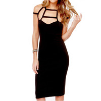 Black Strappy Sleeveless Cut-Out Midi Dress