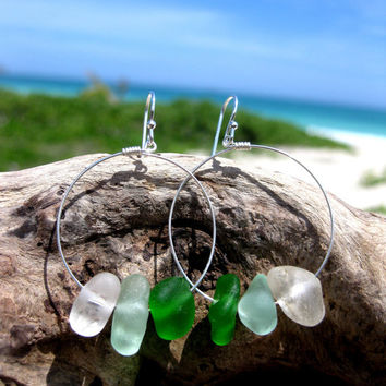 Hawaiian Aqua Blue, Emerald Green, and Clear Nugget-Like Beach Glass on 925 Sterling Silver Circular Wire Small Hoop Earrings