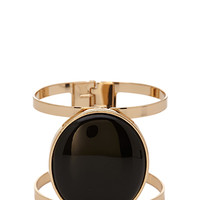 FOREVER 21 Faux Stone Cutout Cuff Black/Gold One