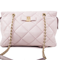 Light Pink Leather Quilted Purse