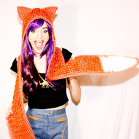 Red Fox Scoofie! - Crocheted Orange Double Tail Hooded Scarf w/ Pockets - Sonic The Hedgehog Inspired Cuteness - What Does The Fox Say