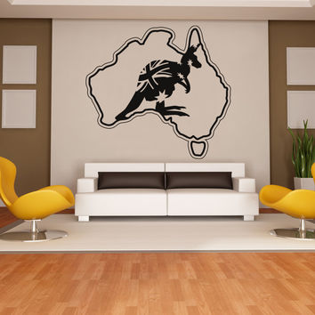 Vinyl Wall Decal Sticker Australia and Kangaroo #OS_AA474