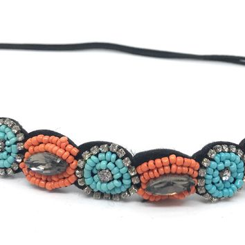 Sassy Cowgirl Turquoise and Orange Beaded Headband