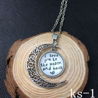 I Love You to the Moon and Back Necklace jewelry hippie girls womens