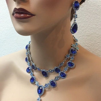 Wedding jewelry set, vintage inspired Royal blue crystal necklace statement earrings, Midnight blue crystal jewelry set, evening jewelry