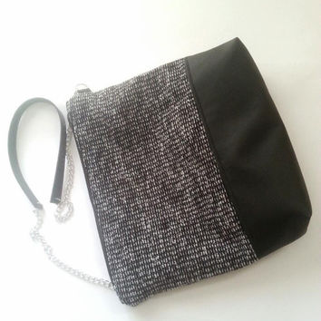 zipper crossbody bag, wool and leather bag, black and white