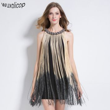 Great Gatsby Metal Chain Halter-Neck Black 1920s Fringe Flapper Charleston Dress Sexy Party Bodycon Club Dress