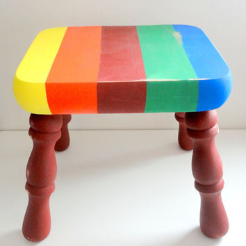 Milking stool or step stool in RAINBOW colors upcycled kids step stool