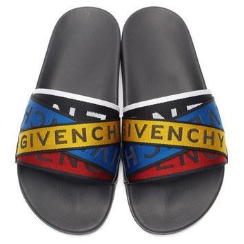 0284151a2 Givenchy Tide brand men and women letter straps beach sandals  1