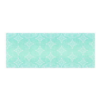 "Suzie Tremel ""Medallion Aqua Ombre"" Blue Teal Bed Runner"