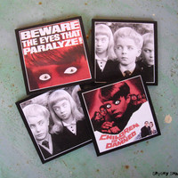 Children of the Damned coasters - set of 4 wooden coasters - geekery, horror movie, classic horror, halloween,pop culture,fun, SPOOKY SHADES