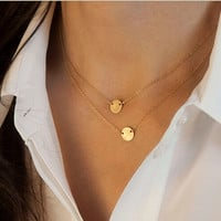 Gold Plated Cute Round Choker Necklace