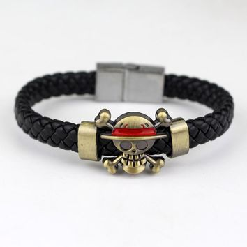 Naruto Sasauke ninja Anime Jewelry One Piece  Soul Eater Attack on Titan Charm Woven Leather Bracelet Cosplay AT_81_8