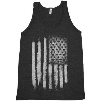 AMERICAN FLAG Unisex Tank Top American Apparel Triblend Racerback Tank Top Hand Screen Printed