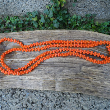 Vintage ladies long opera length necklace - faux coral necklace orange vintage beaded necklace - costume jewellery dog bone shaped 1920's