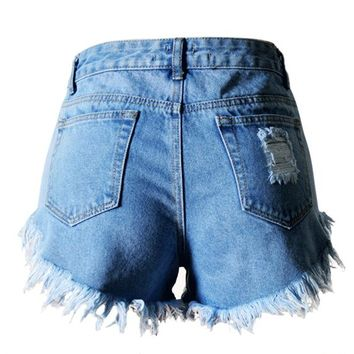 In Europe and the spring/summer type hole irregular cat whisker fringed edge denim high waist shorts hot pants