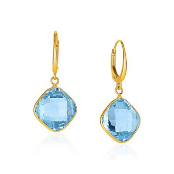 Drop Earrings with Blue Topaz Cushion Briolettes in 14k Yellow Gold