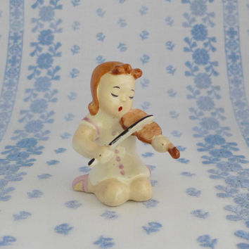 Occupied Japan Figurine, Girl Playing the Violin, Porcelain Girl Figure
