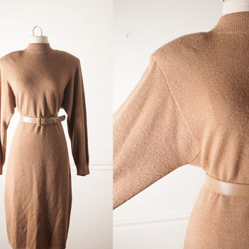 Vintage St John Dress | Knit Sweater Dress 80s Dress 70s Dress Camel Brown High Neck Belted Marie Gray Secretary Dress Slouchy Avant Garde