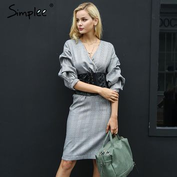 Sexy Half Sleeve Winter Dress Women Slim Autumn V Neck Dress Vintage Back Zipper Dresses Female