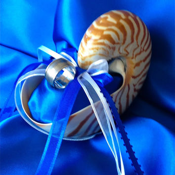 Destination Beach Wedding Nautilus Shell Ring Bearer Pillow Alternative in Royal Blue & White (or CUSTOM)