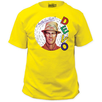 Devo T-shirt - Are We Not Men We Are Devo Album Cover Artwork | Men's Yellow Shirt