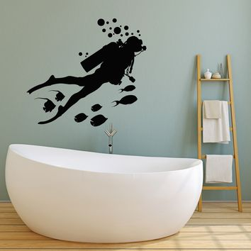 Vinyl Wall Decal Scuba Diving Diver Fishes Bubbles Underwater Bathroom Stickers Mural Unique Gift (ig5090)