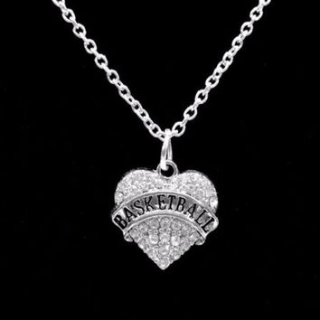 Crystal Basketball Heart Sports Gift Charm Necklace