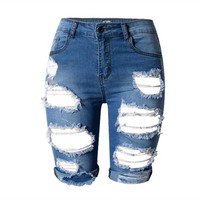 Summer Fashion jean Pants & Capris woman high waist ripped shorts Hole skinny jeans for women pantalon femme
