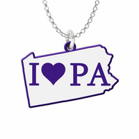 I Love Pennsylvania Silver State Necklace with Color Accent